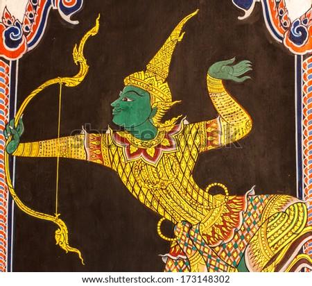 Thai style painting art on wat wall at Bangkok,Thailand - stock photo