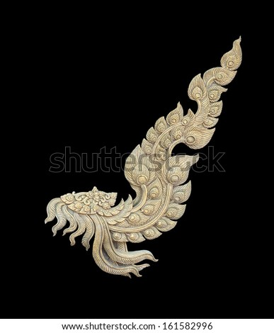 thai style pattern on black background, traditional art  - stock photo