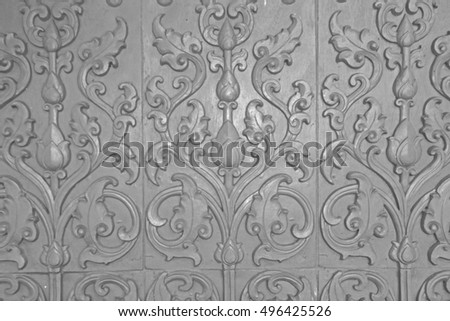 Thai style stucco on the wall