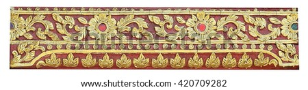 Thai style wooden carving  in temple of Thailand,,  - stock photo