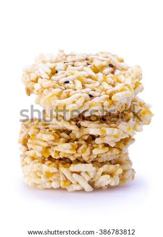 Thai Sweet Crispy Rice Cracker with Cane Sugar (Ka Noom Nang Let) - stock photo
