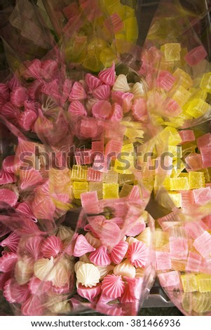 Thai sweet jelly dessert in plastic bags for sell in market