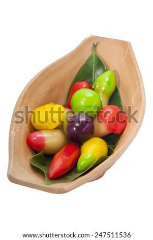Thai sweets,Thai style marzipan fruits, Traditional Thai Dessert. - stock photo