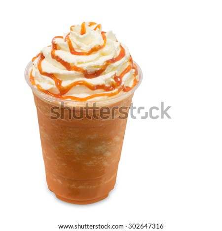 Thai tea smoothie in takeaway glass isolated on white background with clipping path - stock photo