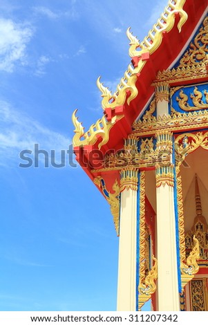 Thai temple building gold color show thai art detail