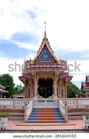 Thai temple church and nice sky - stock photo
