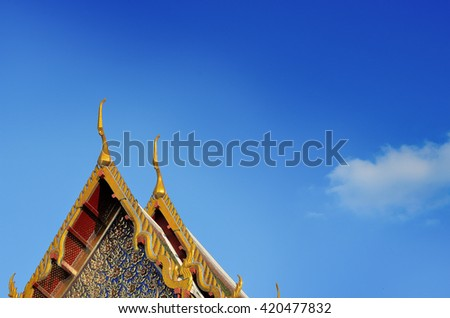 Thai Temple Decorate Roof. - stock photo