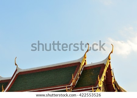 Thai Temple Decorate Roof. Buddhism Temple. gable apex. - stock photo