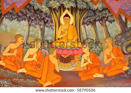 Thai temple murals. - stock photo