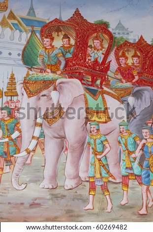Thai temple wall paintings.