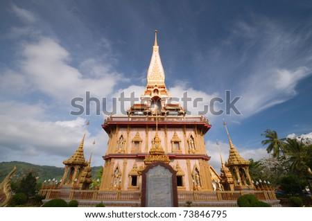 "Thai temple ""Wat Chalong"" Phuket province Thailand - stock photo"