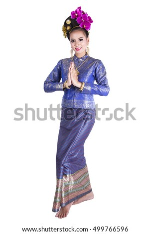 Thai tradition dance arts of northern Thailand. Northern Thailand costume set.