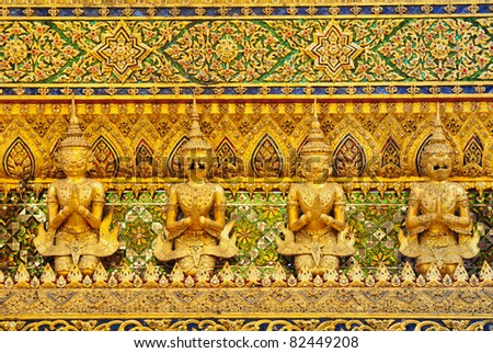 Thai traditional angle in Wat Phra Kaew Temple , bangkok Thailand