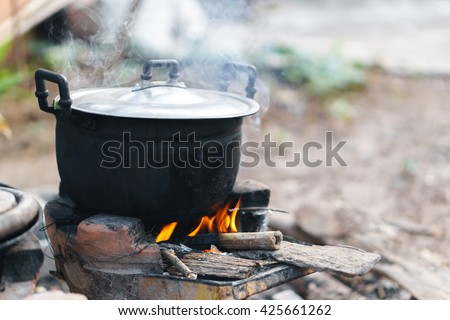Thai traditional charcoal burning clay stove - stock photo