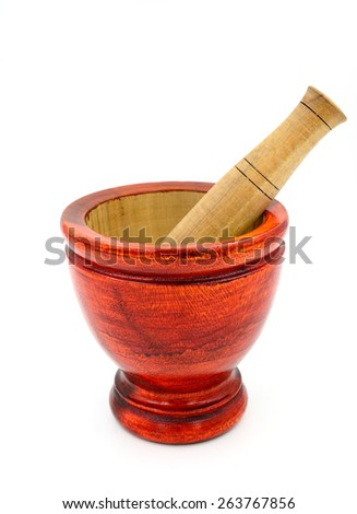 Thai Traditional wooden mortar on white background