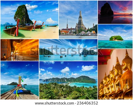 Thai travel tourism concept design - collage of Thailand images - stock photo