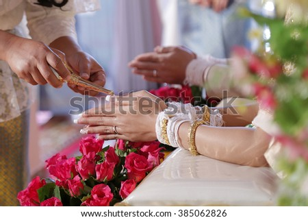 Thai wedding ceremony culture marriage. - (Selective focus) - stock photo