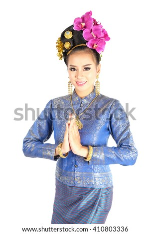 Thai woman model in tradition costume. Thai tradition dance call Fon Leb.