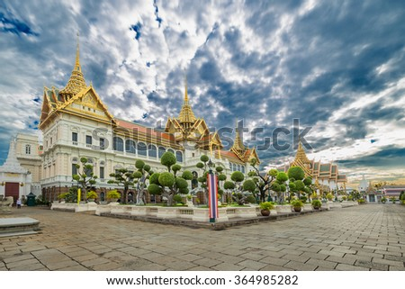 Thailand, Bangkok, Wat Phra Kaew; The royal grand palace - stock photo