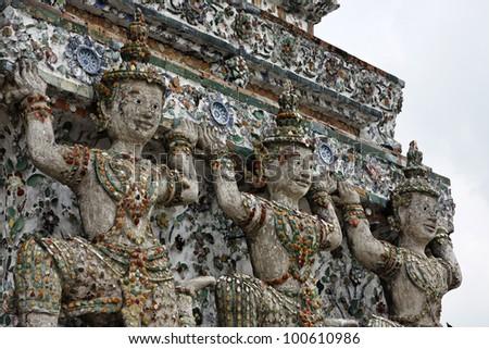 Thailand, Bangkok, Yai District, Arun Temple (Wat Arun Ratchawararam), roof ornaments - stock photo