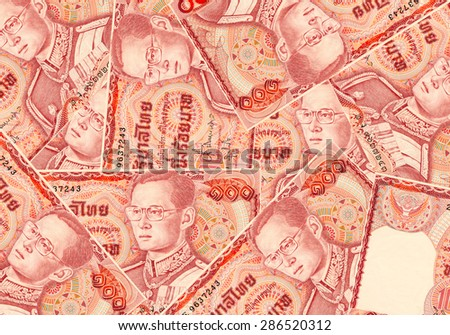 Thailand banknotes price of one hundred for background and texture. - stock photo