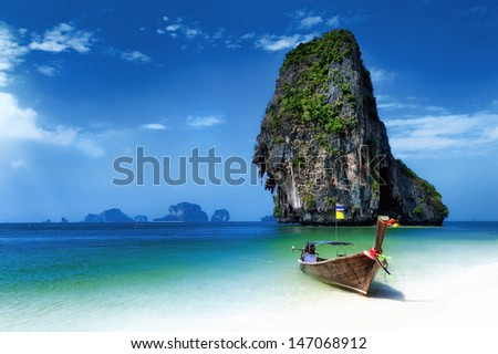 Thailand beach on tropical island. Beautiful travel background of Asia coast - stock photo