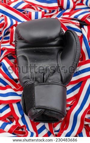 Thailand Boxing Gloves, Black boxing gloves  - stock photo