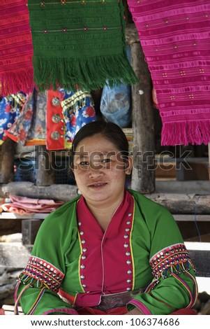 Thailand, Chiang Mai, Karen Long Neck hill tribe village (Kayan Lahwi), Karen woman in traditional costumes - stock photo