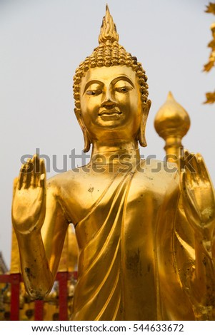 Thailand, Chiang Mai Province, Wat Phra That Doi Suthep. Golden Buddha statue