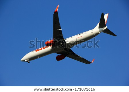 THAILAND / CHIANGMAI - JANUARY 14 2014: HS-LTI  Boeing 737-900ER  of Thai lionair airline , landing to Chiangmai airport from Bangkok Don Muang Airport, thailand.