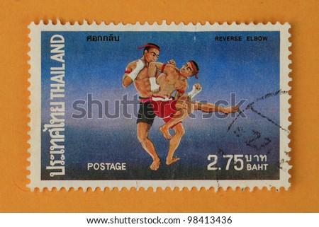 THAILAND-CIRCA 1984: A stamp printed in Thailand shows Thai boxing style, circa 1984 - stock photo