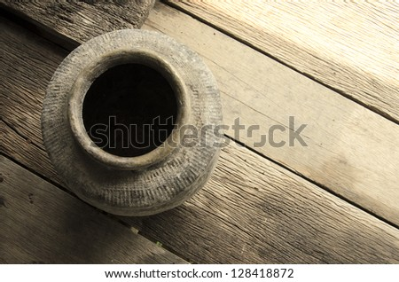 Thailand Clay Jar for Stored of thai food - stock photo