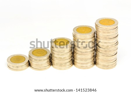 thailand coin stacks showing growth