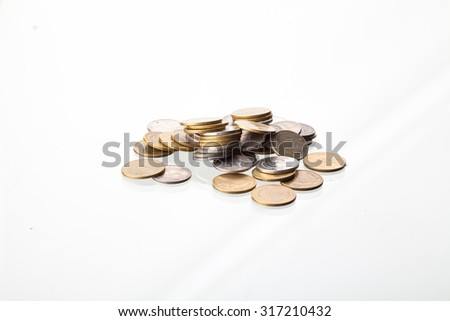 Thailand coins money on a white background.