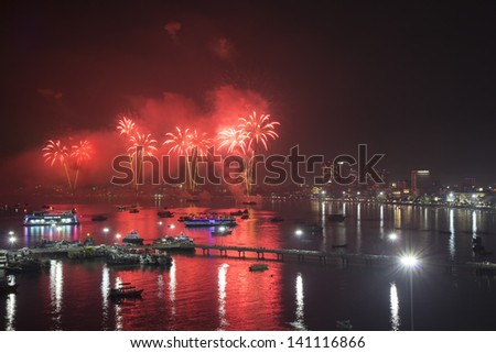 THAILAND-DEC 1:Night view and firework festival on Dec 1,2012 Pattaya city, Thailand - stock photo