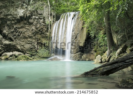 Thailand, Erawan Waterfall in the deep forest