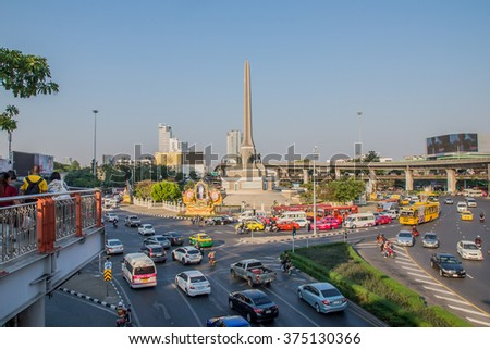 Thailand 2016 Feb 5, landscape of victory monument,Bangkok Thailand.