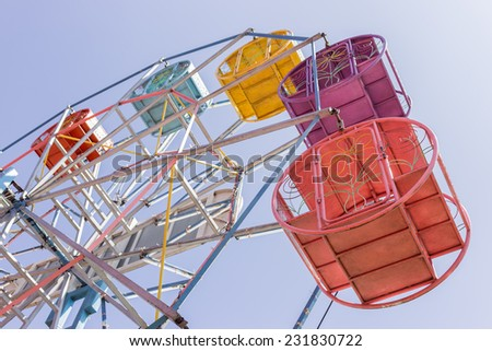 Thailand Ferris wheel old style. Thai Ferris wheel high about 15-25 m. for easy dislocate. - stock photo