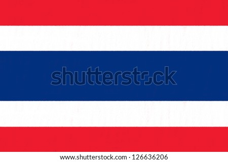 thailand flag drawing by pastel on charcoal paper - stock photo