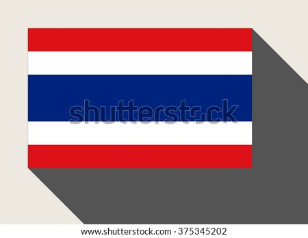 Thailand flag in flat web design style. - stock photo