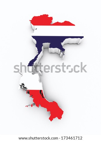 Thailand flag on 3d map - stock photo