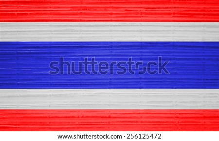 Thailand flag on grunge wall background - stock photo