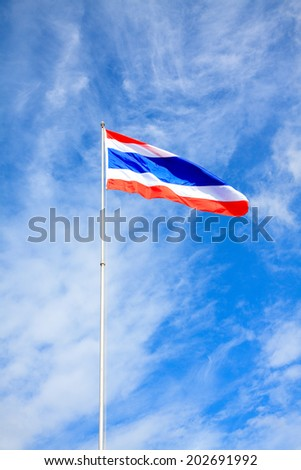 Thailand flag on the top of pillar with hot day