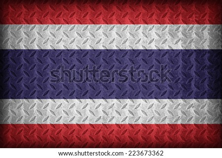 Thailand flag pattern on the diamond metal plate texture ,vintage style - stock photo