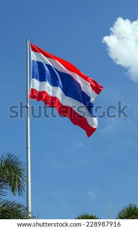 Thailand Flag with blue sky and tree