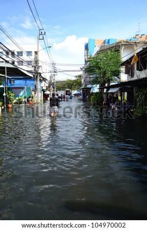 Thailand flood 2011,Bangkok,Thailand,Asia. - stock photo