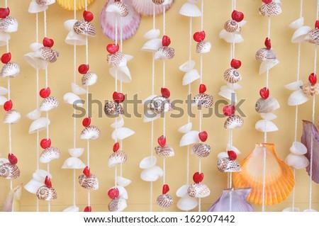 Thailand handmade, mobile from many seashell - stock photo