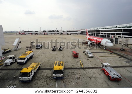THAILAND - JANUARY 10 : Don Mueang International Airport on January 10,2015 in Thailand.Air Asia is one of airlines in Don Mueang International Airport Bangkok, Thailand - stock photo