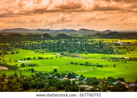 Thailand landscape of rural city and mountain.