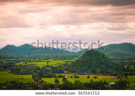 Thailand landscape of rural city and mountain under the blue sky